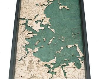 Boston Harbor Wooden Topographic Serving Tray