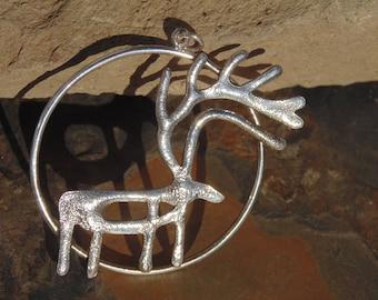 Andreas Lautz ~ Vintage Norwegian Sterling Silver Large Reindeer Pendant - 18 Grams