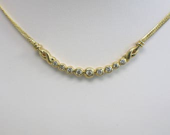 14K Bezel Set Ascending Curved Bar Diamond Necklace