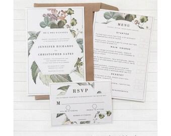 Botanische Hochzeit Einladung Set   DIGITALDATEI   Komplett Custom   DIY  Hochzeitseinladungen   Pdf Hochzeit Einladung