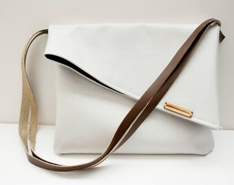 White Fold Over Satchel, Messenger Bag