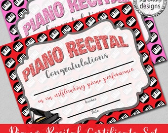 "Piano Recital Certificate, Instant Download, 8.5x11"" Word, Fillable PDF"