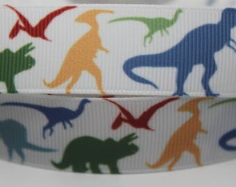 Dinosaur Ribbon 7/8 Inch Grosgrain Ribbon by the Yard for Hairbows, Scrapbooking, and More!!
