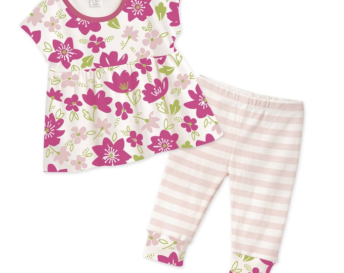 SUMMER SALE! Baby Girl Summer Outfit, Baby Girl Top & Leggings, Baby Girl Shirt, Pink Floral, Striped Pants, Tesa Babe TL020FMFU0000