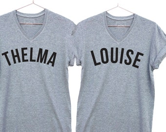 Thelma and Louise Best friend matching t-shirts. Cool v-neck tee. Matching Friends Shirts, Best friend gift v-neck
