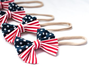 Nylon American Flag Headband-baby girl