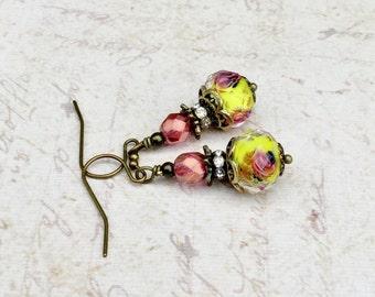 Pink Earrings, Yellow Earrings, Lampwork Earrings, Victorian Earrings, Antique Gold Earrings,Unique Earrings, Womens Earrings,Flower Earring