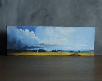 Panorama Landscape Painting, Stormy Sky, Rustic Home Decor, Country Landscape, Original Canvas Painting, Panoramic Landscape, Cloud Art