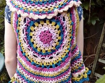 Hand Crochet Mandala Vest top.  Size small (UK 10 - 12) Cardigan Shrug Wrap Summer Knits