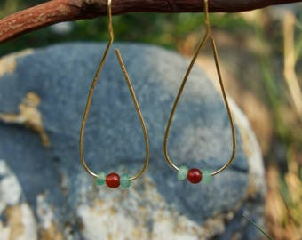 Brass Teardrops with Carnelian and Jade