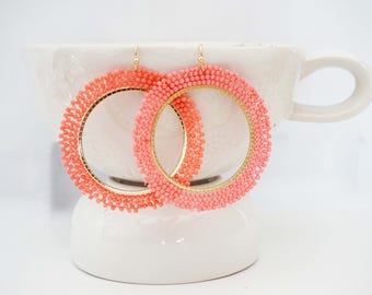 Salmon Pink Beaded Hoop Statement Earrings