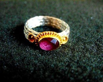 Sterling Silver Ring,Silver 925, Gold Plated Silver and Ruby Root Ring,Women's Byzantine Style Ring, Statement Ring, Gift for Her