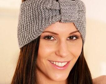 Knit Headband, Knit Ear Warmer, Winter Headband, Turban Headband, Knitted Ear Warmers, Knitted Headband, Gray Knit Headband, TheKnitNut Etsy