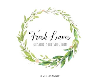 Nature Logo-Leaf Logo-Leaves Wreath Logo-Photography Logo-Watercolor Logo-Premade logo-Watermark-Hand drawn Logo-Branding