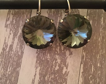18mm Black Diamond Swarovski earrings.