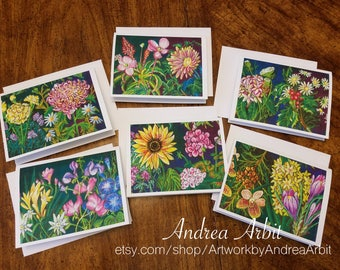 Flower Drawing Art Prints - 28 Years Set #1 - Pack of 6 Blank A2 Notecards