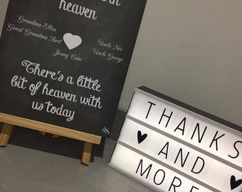 Chalk effect personalised heaven wedding sign