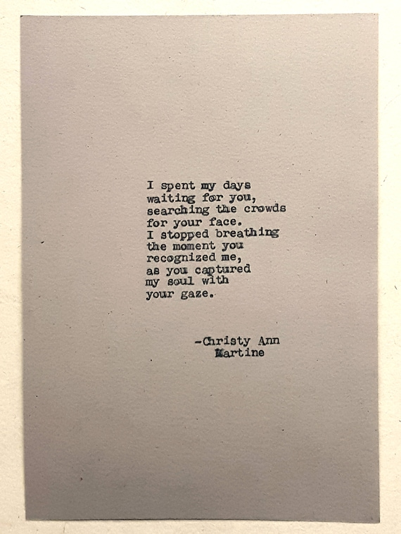 Mens Gift - Romantic Gifts for Men ~ Soulmates Poem Typed by Author with Antique Typewriter