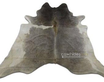 Grey Cowhide Rug Size: 6.7 X 6.7' ft Grey and White Cow Hide Skin Rug i-787