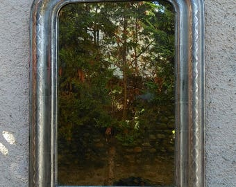 Silver mirror: Antique Louis-Philippe Mirror, old French mirror.