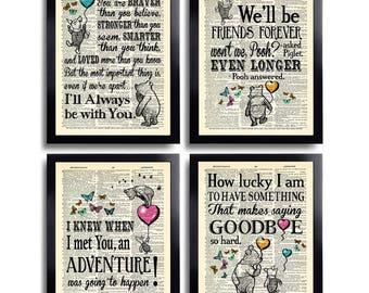 Winnie the Pooh Quotes Print Set of 4 Winnie the Pooh Wall Art Prints Winnie Pooh Gift Set Best Friend Gift Winnie Nursery Decor Set 606b