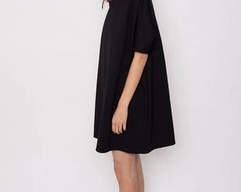 Weekend SALE Casual black dress, oversize dress, oversize tunic, A-line dress,black tent dress, loose dress, casual dress