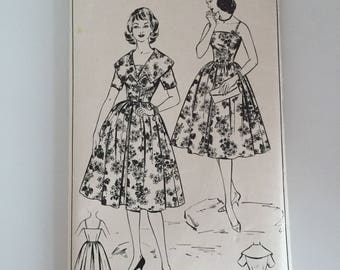 Woman W388 1950s Sewing Pattern / Sun Dress and Jacket / Bust 34""