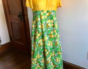 70s Floral Dress, Short Sleeve, Empire Waist, Yellow, Flowers, Green, Gold, Maxi Dress, Womens Vintage, Size 10, Vintage Handmade