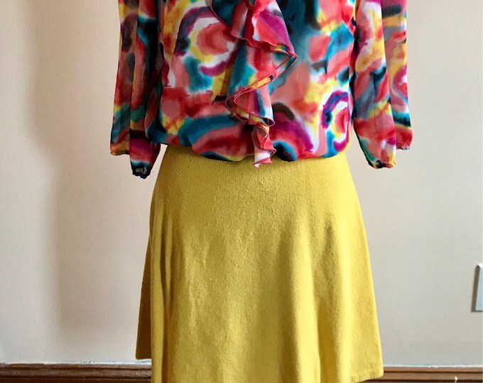 Featured listing image: 1960s Knit Yellow Sweater Skirt Size XL