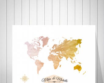 Wedding Sign Guest Book Alternative | Sign Guest Book | World Map Print | Anniversary Gift From Kids | Gift For Parents | Push Pin - 52077