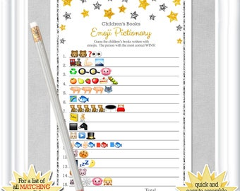 Children's Books EMOJI Pictionary with gold and silver stars, Twinkle Twinkle little Star Baby Shower, ANSWERS included, diy PRINTABLE, 93BA