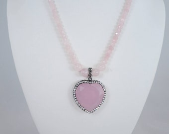 Rose Quartz Heart Necklace, Pendant Necklace, Heart Necklace, Pave Crystals, 18 Inch, Crystal Ball Magnetic Clasp