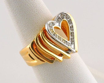 Size 6 18k Gold Plated .21cttw Rhinestone Filigree Heart Ring NOS