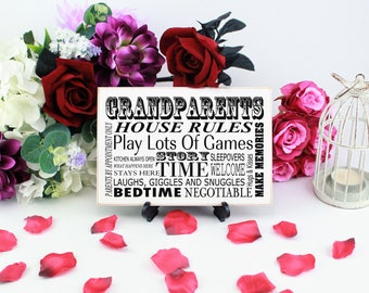 Grandparents House Rules Sign, Gift Idea for Grandparents who have everything, Wooden Plaque with Fun Grandparents' Quotes, B044