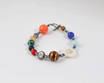 Solar System Bracelet, Outer Space Bracelet, Planet Bracelet, Jupiter Jewelry, Planet Jewelry, Astronomy Jewelry, Planetary Jewelry, Unisex