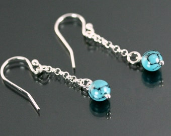 Solid silver earrings turquoise, Blue stone earrings, Real turquoise earrings, Blue stone jewelry, Earrings blue stone turquoise 6mm or 8mm