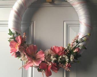 Flower Wreath, Spring Wreath, Front Door Wreath, White Wreath,Cosmos Flower Wreath,Home Decor