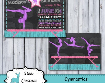 Gymnastics Birthday Invitation | Tumbling Chalkboard Birthday Invite | Gymnastics Invitation | Gymnastics Birthday Party | Tumbling Party