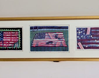 "Ross Palmer Beecher ""3 American Flags"" signed original mixed media prints, 1979"