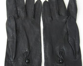 Vintage Italian Kid Leather Gloves 1960s Soft Black For Macys Glass Button