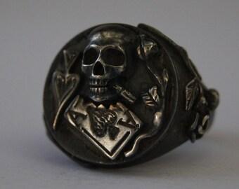 Phenomenal Handmade Sterling Silver Skull Blackjack Ace of Spades Poker Casino Biker Ring All Sizes !!!