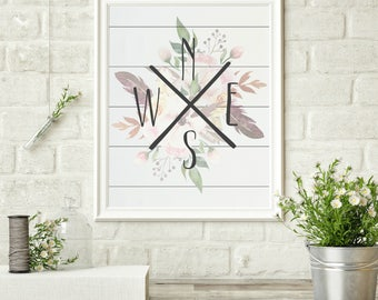 Compass North East South West Shiplap Watercolor Floral Farmhouse Country Cottage Chic Digital Print INSTANT DOWNLOAD