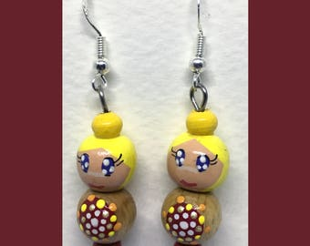 Rondouille Art doll red/yellow earrings