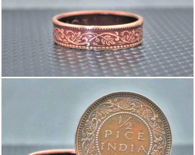 Burgundy Wreath Coin Ring, India-British Coin, Burgundy Ring, Bronze Ring, Unique BoHo Ring, Dainty Ring, Women's Coin Ring, 8th Anniversary