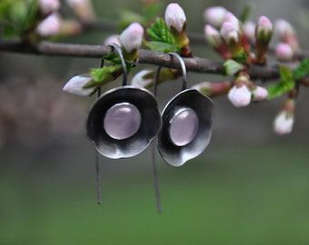 Sterling silver rose quartz floral earrings | Silver sakura earrings | artisan silver flower earrings