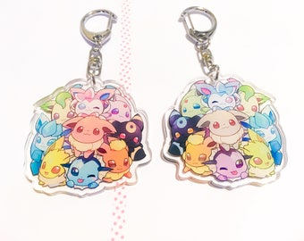 Eevee Evolution Charms 2inch Clear Acrylic