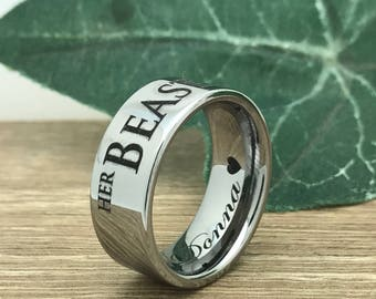 9mm Tungsten Wedding Ring, Personalize Custom Engrave Pipe Cut Tungsten Carbide Ring, Comfort Fit, Father's Day Gift-TCR229