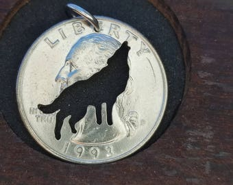 Wolf pendant, wolf necklace, animal pendant, howling wolf pendant hand cut coin pendant