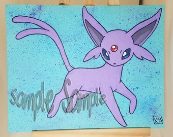 Made to order Espeon Painting [with glow in the dark skeleton]