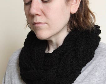 Crochet Cowl, in Black with a Double Braid and Button